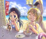 00s 2girls ^_^ ahoge alcohol banner beach beer bikini black_hair blonde_hair blue_eyes chin_rest chopsticks closed_eyes dessert eating egg eyebrows flag food futari_wa_precure ice_cream innertube misumi_nagisa multiple_girls noodles ocean parfait precure ramen shop smile swimsuit tray yukishiro_honoka