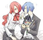 1boy 1girl ? arisato_minato atlus blue_eyes blue_hair blush bow couple digital_media_player food hair_over_one_eye headphones hetero hirose_wataru kirijou_mitsuru kitaro komine_minamo long_hair persona persona_3 red_eyes redhead ribbon school_uniform serafuku short_hair yuuki_makoto