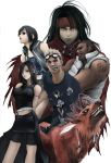 2girls 3boys arms_behind_back bare_shoulders barret_wallace black_hair blonde_hair breasts cait_sith cid_highwind cigarette clenched_teeth cornrows everyone final_fantasy final_fantasy_vii final_fantasy_vii_advent_children goggles goggles_on_head headband lips long_hair monster multiple_boys multiple_girls navel parted_lips red_xiii sharp_teeth shihira_tatsuya shorts_under_skirt simple_background smile tank_top tattoo teeth tifa_lockhart vincent_valentine white_background yuffie_kisaragi