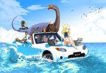 1girl animal bird blonde_hair car cat clouds dinosaur dog eagle ground_vehicle mazda motor_vehicle nest ocean one-piece_swimsuit sitting sky squirrel swimsuit vehicle water what