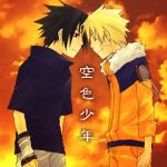 2boys arm_warmers artist_request black_eyes black_hair blonde_hair closed_eyes cowboy_shot frown fur_trim head_to_head jacket long_sleeves male_focus multiple_boys naruto orange_shirt shirt smile spiky_hair standing sunset sweater uchiha_sasuke uniform uzumaki_naruto whisker_markings yaoi