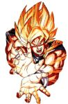 1boy dragon_ball dragonball_z kamehameha lowres male_focus official_art solo son_gokuu super_saiyan toriyama_akira