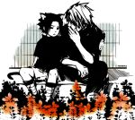 2boys animal_ears artist_request cat_ears hatake_kakashi kakasasu male_focus monochrome multiple_boys naruto uchiha_sasuke yaoi
