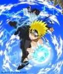 2boys battle fighting fisheye male_focus multiple_boys naruto naruto_shippuuden natsudori rasengan uchiha_sasuke uzumaki_naruto vs