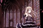 1girl architecture blonde_hair church elbow_gloves gloves gothic gothic_architecture gothic_lolita katase_yuu lolita_fashion original petals solo stained_glass trefoil twintails