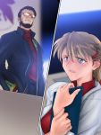 1boy 1girl age_difference beard blue_eyes facial_hair glasses hair_ornament hairclip ikari_gendou ikari_shinji labcoat meguro_fukuzou neon_genesis_evangelion older ponytail souryuu_asuka_langley
