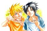 2boys :p artist_request blonde_hair body_writing male_focus multiple_boys naruto orange_shirt shirt shirt_pull tongue tongue_out uchiha_sasuke uzumaki_naruto white_background