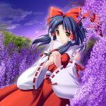 1girl black_hair bow brown_eyes clouds detached_sleeves female floating_hair flower hair_bow hair_tubes hakurei_reimu hands_clasped imperishable_night interlocked_fingers japanese_clothes light_smile maroppe miko purple ribbon short_hair sky solo sparkle touhou twilight wide_sleeves wisteria