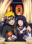 1boy 1girl arm_around_neck blonde_hair blue_eyes blue_hair blush couple food hetero hyuuga_hinata japanese_lanterns lantern long_hair naruto naruto_shippuuden noodles paper_lantern ramen risachantag short_hair uzumaki_naruto white_eyes