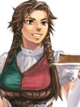 1girl bernadette_egan breasts brown_eyes brown_hair cake food gensou_suikoden gensou_suikoden_v grin large_breasts long_hair lowres pastry plate sakishima_(irregular_colors) simple_background smile solo upper_body white_background