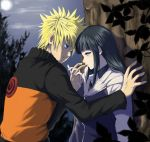 1boy 1girl against_wall blonde_hair blue_eyes blue_hair blush couple hand_holding hetero hyuuga_hinata keroyon-jima long_hair naruto naruto_shippuuden orange_shirt see-through shirt short_hair uzumaki_naruto white_eyes