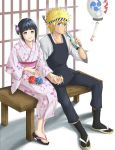 1boy 1girl couple date hand_holding hetero hyuuga_hinata japanese_clothes keroyon-jima kimono naruto sandals smile uzumaki_naruto whisker_markings