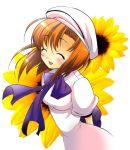 1girl ^_^ ^o^ arms_behind_back beret blush bow bowtie brown_hair closed_eyes flower hat higurashi_no_naku_koro_ni long_sleeves open_mouth ryuuguu_rena short_hair simple_background smile solo sunflower suzuragi_karin white_background