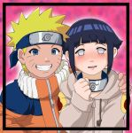 1boy 1girl blush couple hand_on_shoulder happy hetero hyuuga_hinata naruto oreshika smile uzumaki_naruto whisker_markings