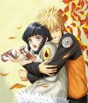 1boy 1girl :o autumn black_hair blonde_hair blush can carrying closed_eyes coat couple grey_eyes grin hetero hug hug_from_behind hyuuga_hinata keroyon-jima leaf lowres naruto short_hair smile spiky_hair surprised time_paradox uzumaki_naruto whisker_markings