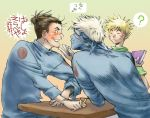 3boys :o ^_^ blonde_hair blush book broken brown_hair closed_eyes covering_mouth facial_mark grimace hatake_kakashi headband heart long_sleeves lush male_focus multiple_boys naruto noeen pencil scarf silver_hair sitting smile spiky_hair surprised sweatdrop table teeth umino_iruka upper_body uzumaki_naruto whisker_markings