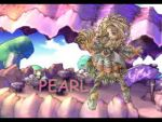 1girl artist_request blonde_hair character_name full_body green_eyes hair_rings lady_pearl legend_of_mana letterboxed long_hair lowres rock seiken_densetsu solo table