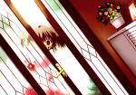 1girl blood blood_on_face brown_eyes creepy door empty_eyes flower_pot game_cg mitsumi_misato parody peeking_out photoshop picture_frame short_twintails solo to_heart_2 twintails yandere yuzuhara_konomi