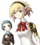 aegis aegis_(persona) android aqua_hair atlus blonde_hair blue_eyes bow brown_eyes kotonemaru persona persona_3 ribbon school_uniform serafuku short_hair yamagishi_fuuka