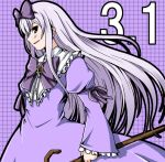 1girl 3.1-tan bow bowtie brown_eyes buttons collar cowboy_shot dress evil_smile floating_hair frills hair_bow holding long_hair long_sleeves looking_at_viewer nekonote_(nekono_paraiso) number os-tan plaid plaid_background puffy_long_sleeves puffy_sleeves purple_background purple_dress simple_background smile solo very_long_hair