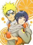 1boy 1girl couple food fruit hetero holding holding_fruit hug hyuuga_hinata keroyon-jima lowres naruto orange orange_(color) orange_print orange_slice short_hair uzumaki_naruto whisker_markings
