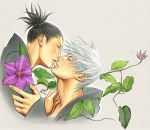 2boys artist_request clematis_(flower) flower hatake_kakashi kiss male_focus multiple_boys naruto umino_iruka yaoi