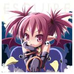 1girl arm_support black_gloves blush close-up disgaea earrings elbow_gloves etna face fang gloves haga_yui jewelry looking_at_viewer makai_senki_disgaea neck_ring nippon_ichi pointy_ears prinny purple_hair short_hair skull_earrings solo spiky_hair stuffed_animal stuffed_toy two_side_up violet_eyes