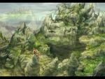 1girl artist_request grass legend_of_mana lowres monster outdoors plant rock seiken_densetsu solo town