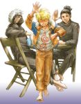 3boys barefoot book coat family feet hairy_feet half_mask hatake_kakashi jacket male_focus multiple_boys naruto noeen open_clothes open_jacket table umino_iruka uzumaki_naruto waving whisker_markings