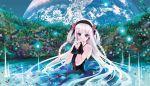 blue_eyes cradle_(artist) dress earth flower gloves hairband kuroya_shinobu long_hair nature original scenery space water white_hair