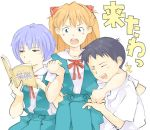 1boy 2girls ayanami_rei book headlock ikari_shinji multiple_girls neon_genesis_evangelion orange_drop reading school_uniform serafuku souryuu_asuka_langley