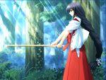1girl game_cg hakama japanese_clothes kendo light_rays miko mikomai red_hakama shinai solo sunbeam sunlight sword tachibana_kohaku ueda_ryou weapon