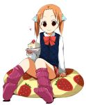 beanbag bow cake child food footwear fruit ichigo_mashimaro maro_nie matsuoka_miu pastry pillow ribbon socks strawberry twintails