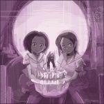 2girls death female fine_art_parody hoshi_kubi illusion l'amour_de_pierrot long_hair lowres multiple_girls oekaki optical_illusion parody purple short_hair skull symmetry what