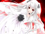 00s albino black_rose bride choker dress flower long_hair red_eyes rose rozen_maiden silver_hair suigintou wedding_dress white_hair