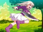 1girl boots cravat fate/hollow_ataraxia fate/stay_night fate_(series) frilled_skirt frills game_cg hiroyama_hiroshi illyasviel_von_einzbern keychain knife kukri long_hair open_mouth purple_boots red_eyes skirt solo sword weapon white_hair