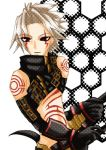 .hack// 1boy bad_anatomy bandai cyber_connect_2 facial_mark hack haseo haseo_(.hack//) honeycomb_background honeycomb_pattern lowres male_focus poorly_drawn solo
