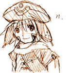 .hack// .hack//games 1boy bandai cyber_connect_2 facial_mark hack hat kite kite_(.hack//) looking_at_viewer lowres male_focus monochrome orange_(color) shirt smile solo tattoo upper_body yuura_shiu
