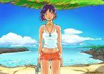 90s aroa's_foo beach fish fushigi_no_umi_no_nadia gainaxtop jewelry midriff nadia neck_ring short_hair