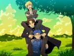 3boys bangs blonde_hair brown_hair fate/hollow_ataraxia fate/stay_night fate_(series) game_cg gilgamesh grass human_tower kotomine_kirei lancer male_focus multiple_boys parody parted_bangs stacking