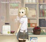 1girl apron blonde_hair clerk indoors lowres naruto ponytail shop solo teramoto_kei thigh-highs yamanaka_ino zettai_ryouiki