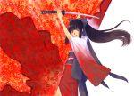 1girl black_hair japanese_clothes katana kimono long_hair obi original sakamoto_mineji sash solo sword violet_eyes weapon