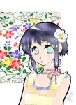 00s 1girl 2005 bakuno_yumesuke black_hair blue_eyes choker dated expressionless floral_background flower hair_flower hair_ornament hyuuga_hinata looking_at_viewer lowres naruto shirt short_hair signature solo upper_body yellow_shirt