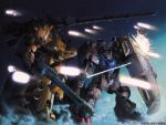 90s cannon energy_sword gundam gundam_0083 gundam_gp-02_physalis katoki_hajime mecha shield sword weapon xamel