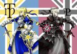 2girls armor armored_dress avalon_(fate/stay_night) blonde_hair dark_excalibur dress dual_persona excalibur excalibur_morgan fate/stay_night fate_(series) multiple_girls pfalz saber saber_alter sheath shield sword weapon