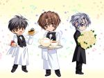 3boys apron black_hair blue_eyes bouquet bow bowtie brown_eyes brown_hair butler cake carnelian chibi cup dress_shirt fang flower food grey_hair katsuragi_takuto kou_(messiah) male_focus messiah_(game) multiple_boys pastry rose sasamori_ryouta shirt tea teacup teapot towel vest white_rose