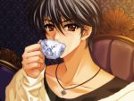 1boy black_hair brown_eyes carnelian cup game_cg jewelry male_focus messiah_(game) necklace sasamori_ryouta sipping solo tea teacup