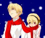 animal_earmuffs earmuffs higurashi_no_naku_koro_ni houjou_satoko houjou_satoshi lowres scarf shared_scarf snow snowing