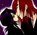 1boy 1girl abarai_renji bleach couple hetero kuchiki_rukia long_hair lowres purple_hair redhead tattoo