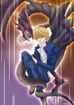 1boy card dragon duel_monster holding holding_card jounouchi_katsuya male_focus red-eyes_b._dragon red_eyes red_eyes_black_dragon school_uniform serafuku solo yu-gi-oh! yuu-gi-ou_(card) yuu-gi-ou_duel_monsters